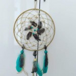 Attrape rêves nature et turquoise 25 cm