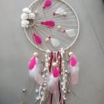 Attrape rêves soleil rose et blanc 25 cm