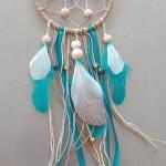 Attrape rêves turquoise et blanc 10 cm