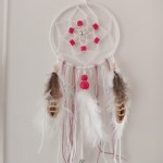Attrape rêves girly nature rose et blanc 10 cm