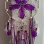 Attrape rêves violet et blanc 25 cm