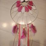 Attrape rêves nature rose et blanc 25 cm