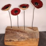 4 coquelicots sur base bois - L 19,5 cm - H 26 cm - 50 €