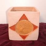 Pot cube émaillé pour plante ou aromates grès brun arbre de vie - 9,5 cm : 16 €