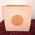 Pot cube émaillé pour plante ou aromates grès brun arbre de vie - 12 cm : 24 €