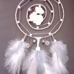 Attrape rêves spirale nature gris et blanc 20 cm